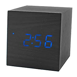 uxcell® Mini Cube Shaped Home Office Desk Wood Digital Alarm Clock Sound-Sensitive Creative Clocks w Time and Temperature Display Black Wood Blue LED
