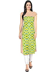 ZIYAA Yellow Colored Half Sleeve And Boat Neck Faux Crepe Kurti