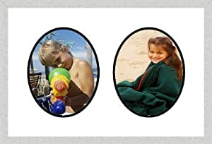 Silver Collage Picutre Frame with 2 Oval openings for 8X10 photos