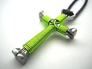 Lime Green Horseshoe Nail Cross Necklace