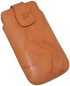 Original Suncase Echt Ledertasche (Magnetverschluss) für HTC One X in wash-orange