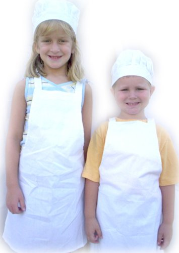Kids White Chef Apron and Hat Set Child Size