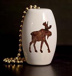 Woodland Moose Silhouette Porcelain Fan / Light Pull