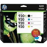 HP 920XL Black & 920 Cyan/Magenta/Yellow Ink Cartridges With Media Kit Combo Pack (D8J68FN)