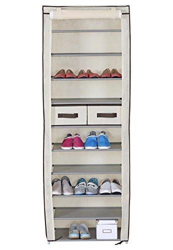 WOLTU-172-Schuhschrank-Stoff-11-Ebene-Schuhregal-Faltschrank-Schuhstnder-Staubdichtes-Stoffschuhschrank-Stoffschrank-Schuhe-Crme-Weiss-60x29x175-cm