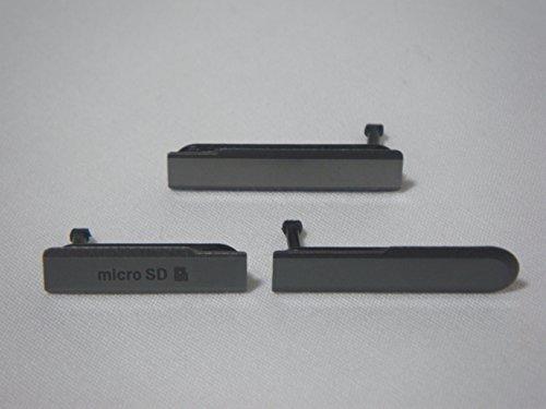 互換品 ソニー タブレット Xperia Z Tablet 用 サイド キャップ カバー 3点セットZT(2 ブラック)