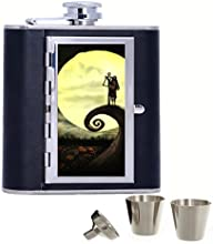 Movie The Nightmare Before Christmas Jack and Sally Custom Personalized 6oz Pu Leather Flask Black S