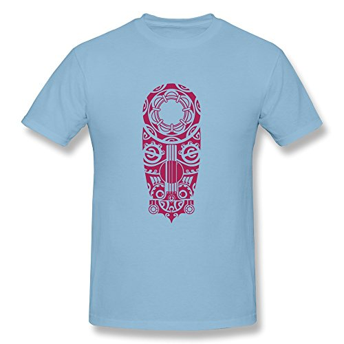 Facai Men'S Tatoo Cotton Round Collar T Shirt M Skyblue