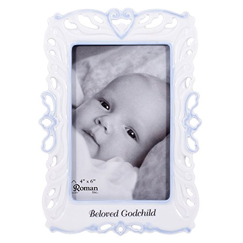 Precious Child of God Blue Boy White Porcelain Decorative 4x6 Picture Frame