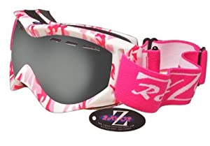 2014 Rayzor Professional UV400 Double Lensed Ski / SnowBoard Goggles, With a Matt Pink Camouflage Frame with an Anti Fog Coated, Vented Smoked Mirrored Anti-Glare Clarity Wide Vision Lens.