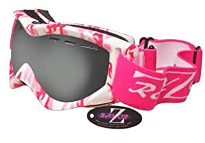 Rayzor Professional UV400 Double Lensed Ski / SnowBoard Goggles, With a Matt Pink Camouflage Frame with an Anti Fog Coated, Vented Smoked Mirrored Anti-Glare Clarity Wide Vision Lens.