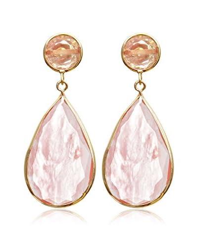 Silver Luxe Pendientes Drop, Rosé