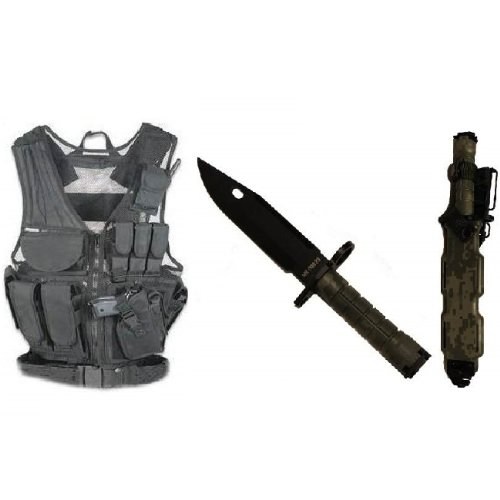 Ultimate Arms Gear Stealth Black Lightweight Edition Tactical Scenario Military-Hunting Assault Vest W/ Right Handed Quick Draw Pistol Holster + Acu Army Digital Camo Camouflage M9 M-9 Military Survival Stealth Black Blade Bayonet Knife With Tactical Shea