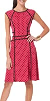 Connected Apparel Pink And Black Dot Print Dress