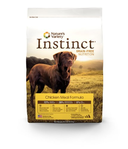 Nature&#8217;s Variety Instinct Grain-Free Dry Dog Food, Chicken Meal Formula,  25.3-Pound Package