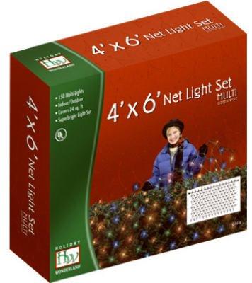 Holiday Wonderland 48951-88 150-Count Multi Color Christmas Lights Net Mesh Light Set / Tree Wrap 4 x 6 Feet