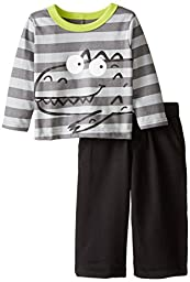 Gerber Graduates Baby Boys\' Grey Dino Long Sleeve Top and Black Pant Set, Grey Dino, 12 Months