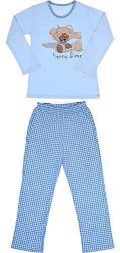 Cornette Mädchen Schlafanzug CR-811-Happy-Bear2 (Blau, 122-128)