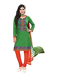 RK Fashion Womens Cotton Un-Stitched Salwar Suit Dupatta Material ( RAJGURU-PAHELI-9274-Green-Free Size )