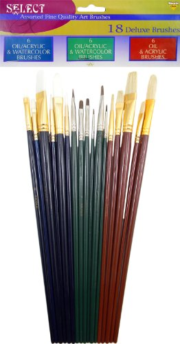 Assorted Fine Quality Art Brushes, 18 PC Oil, Acrylic, Water