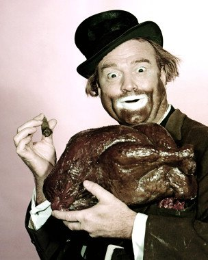 Freddy the Freeloader, Red Skelton's famous hobo clown, with turkey