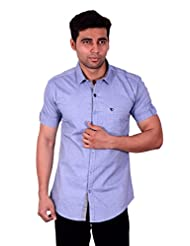 Studio Nexx Men's Navy Solid Casual Shirt