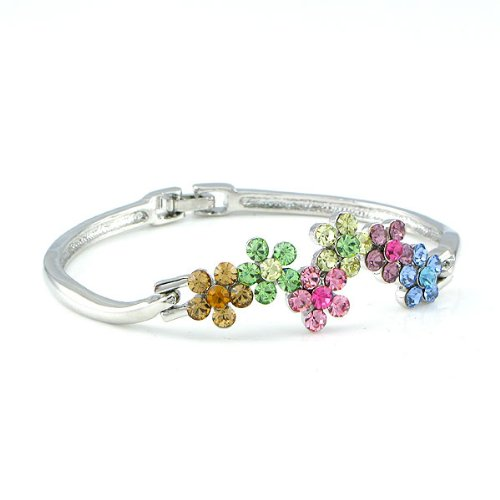 Perfect Gift - High Quality Glistering Flower Bangle with Mulit-colour Swarovski Crystals (3616) for Birthday Anniversary Free Standard Shipment Clearance