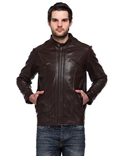 Samayra Men's Zipper Design PU Leather Brown Jacket