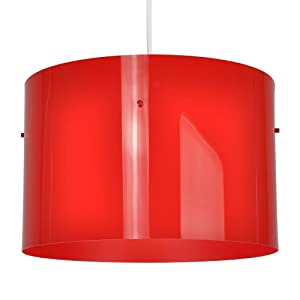 Large Modern Gloss Red Cylinder Ceiling Pendant Light Shade
