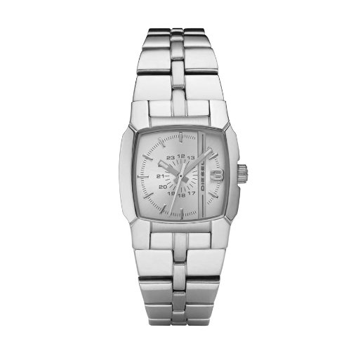 Diesel Ladies Stainless Steel Split Level Analogue Watch Dz5230 With Silver Dial