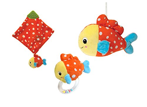 Fiesta Toys Sea Life Fish Baby Teething Handkerchief, Rattle, and Plush Squeaker Stuffed Toy - 3pc Set (Fish Rattle compare prices)