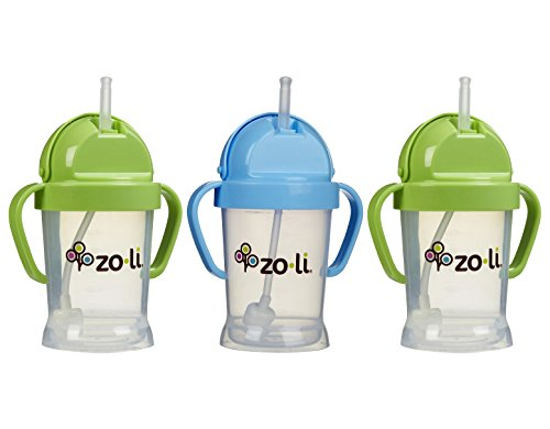 Zoli Baby BOT Straw Sippy Cup 6 oz - 3 Pack, Green/Blue/Green