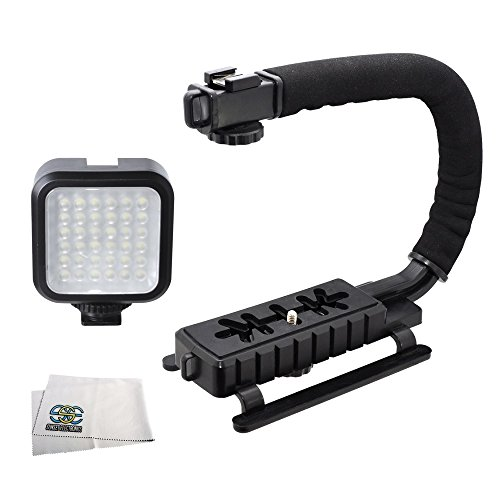 Professional Led Video Light & Action Stabilizing Handle Package For Canon, Nikon, Sony, Pentax, Sigma, Fuji, Olympus, Panasonic, Jvc, Samsung Cameras + Camcorders