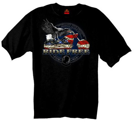 Hot Leathers Flag Bike Biker T-Shirt (Black, XXX-Large)