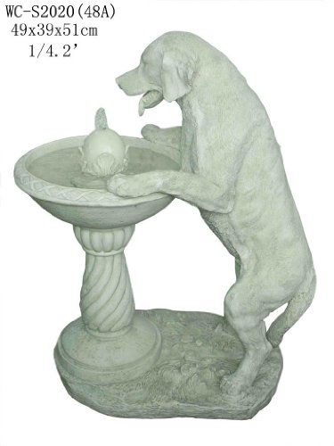 Garden Patio Outdoor Indoor White Labrador Dog Statue Sculputure Water Fountain (Medium Size)
