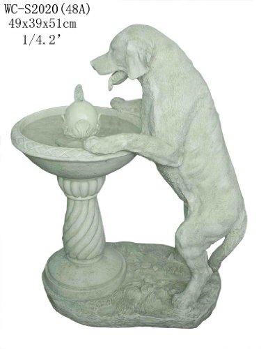 Garden Patio Outdoor Indoor White Labrador Dog Statue Sculputure Water Fountain (Medium Size)