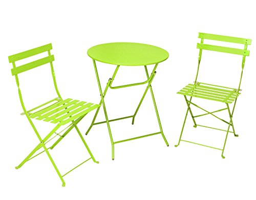 Cosco 3-Piece Folding Bistro-Style Patio Table and Chair, Bright Green (Patio Furniture Small Space compare prices)