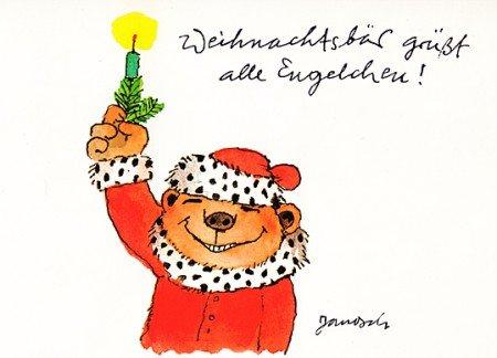 Janosch WeihnachtsPOSTkarte Weihnachtsbär grüßt Engelchen