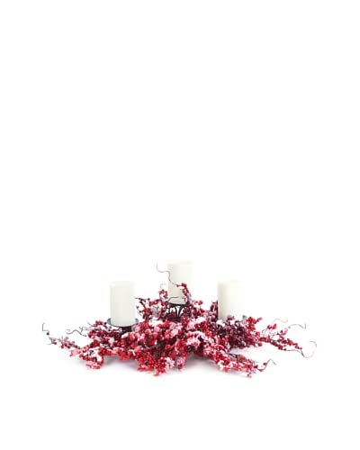 Melrose International Holiday Berry Candleholder, Red/White
