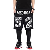 Zero Unisex Fashion Hip Hop Medusa Sport Shorts Basketball Pants (XXL (US Size XL), Black)