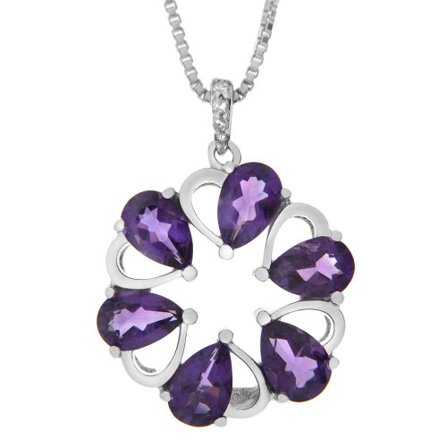Sterling Silver Amethyst and Diamond-Accented Flower Pendant Necklace, 18