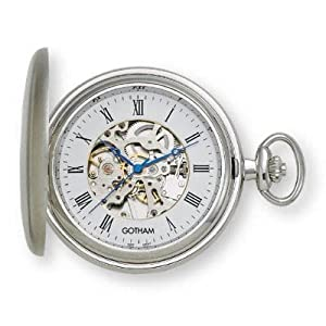 Gotham Men's Silver-Tone Mechanical Pocket Watch with Desktop Stand # GWC14037S-ST