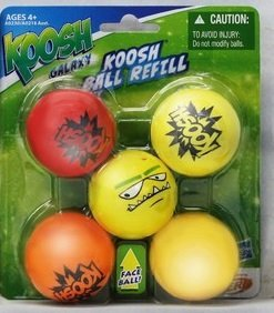 Koosh Ball Refill 5 Pack, Red/Orange with Assorted Face Ball