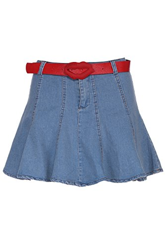 Romwe Women'S Red Belt Short Umbrella Shape Denim Skirt-Blue-M front-525908