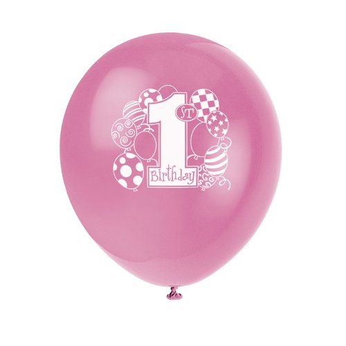 My 1st Birthday Pink Printed Latex Balloons Asst. (8 count)