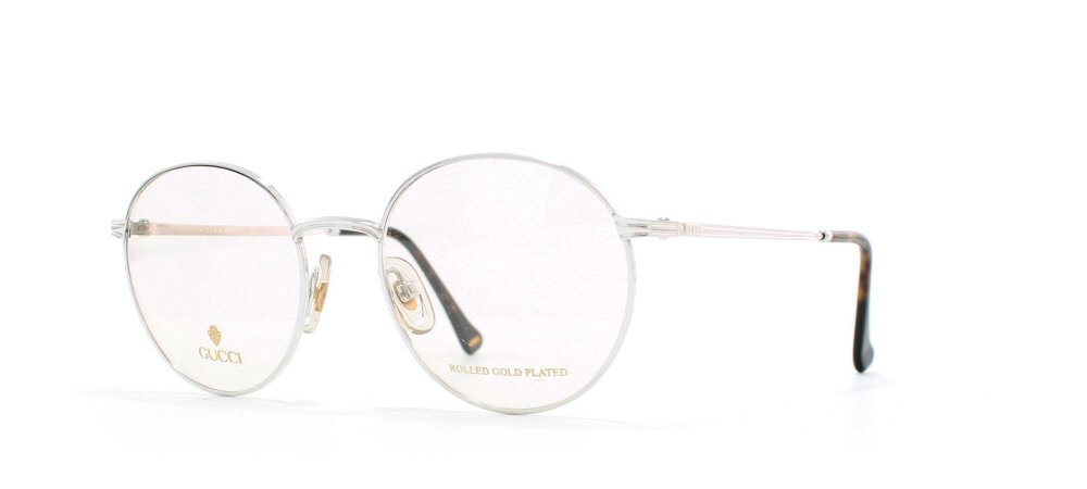 Gucci 1273 02K Silver and Brown Authentic Men - Women Vintage Eyeglasses Frame 0