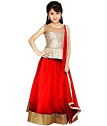Beautiful Net Partywear Kids Red Lehenga Choli (32 inches , 9-10 Years)