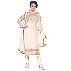 Zubeda Women's Brasso Patch Work Semi Stitched Dress Material (AB278_Off White_Free Size)