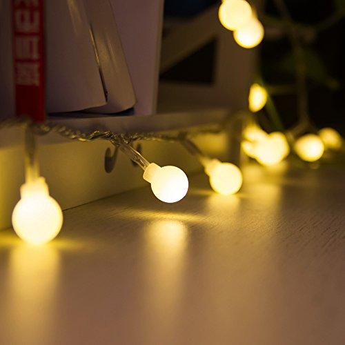 MAXINDA 24V (5 Metri, 48xLEDS) EU Spina Catena Luminosa LED Luminoso Natalizia con Controller 8 Funzioni Luci di Bianco Caldo per Festa, Casa, Giardino, Ristorante, Bar, ecc (Luci Bianco Caldo)