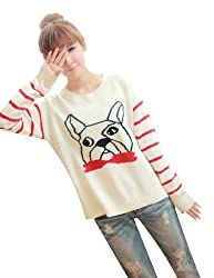 Lana Hua Women's Mulicolored Lovely Dog Knitted Irregular Sweater Jumper- Front Side Shorter and Back Side Longer